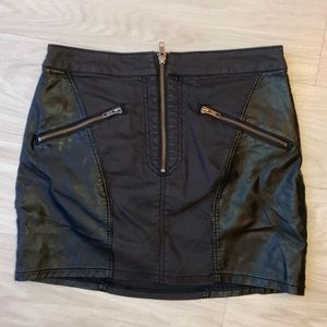 Black Faux leather & jean mini skirt H&M size 8